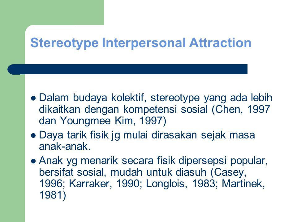 Stereotype Interpersonal Attraction Dalam budaya kolektif, stereotype yang ada lebih dikaitkan dengan kompetensi sosial (Chen, 1997 dan Youngmee Kim, 1997) Daya tarik fisik jg mulai dirasakan sejak masa anak-anak.