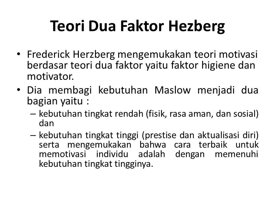 Teori Dua Faktor Hezberg Frederick Herzberg mengemukakan teori motivasi berdasar teori dua faktor yaitu faktor higiene dan motivator. Dia membagi kebu