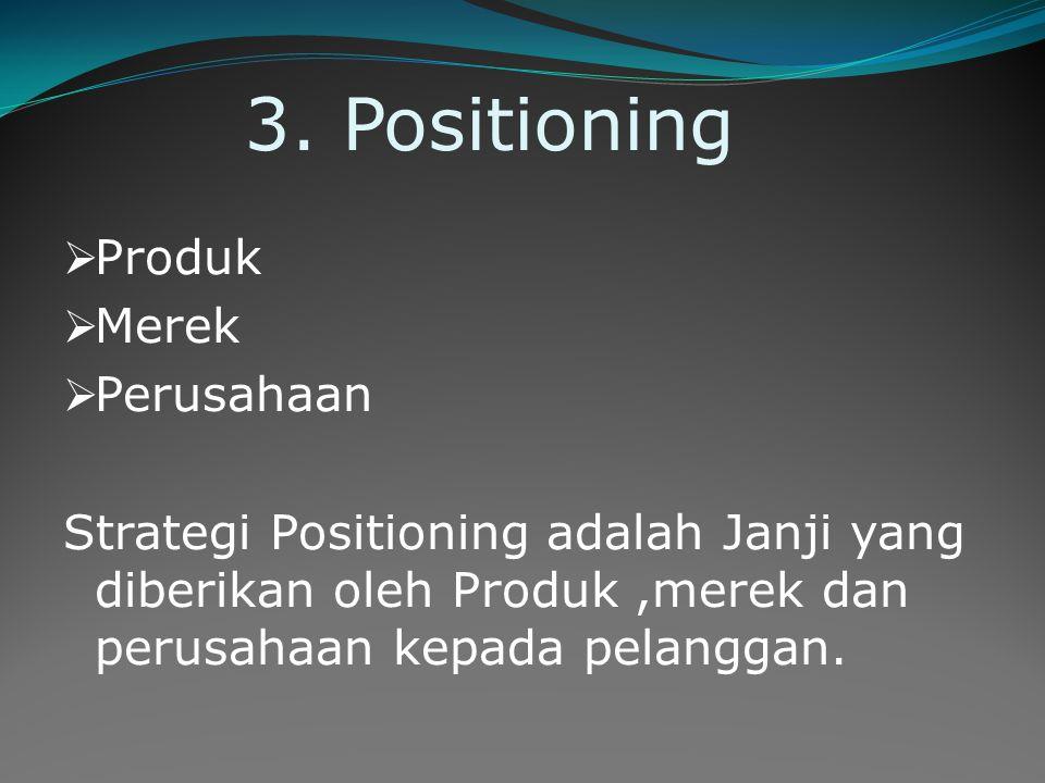 3. Positioning  Produk  Merek  Perusahaan Strategi Positioning adalah Janji yang diberikan oleh Produk,merek dan perusahaan kepada pelanggan.