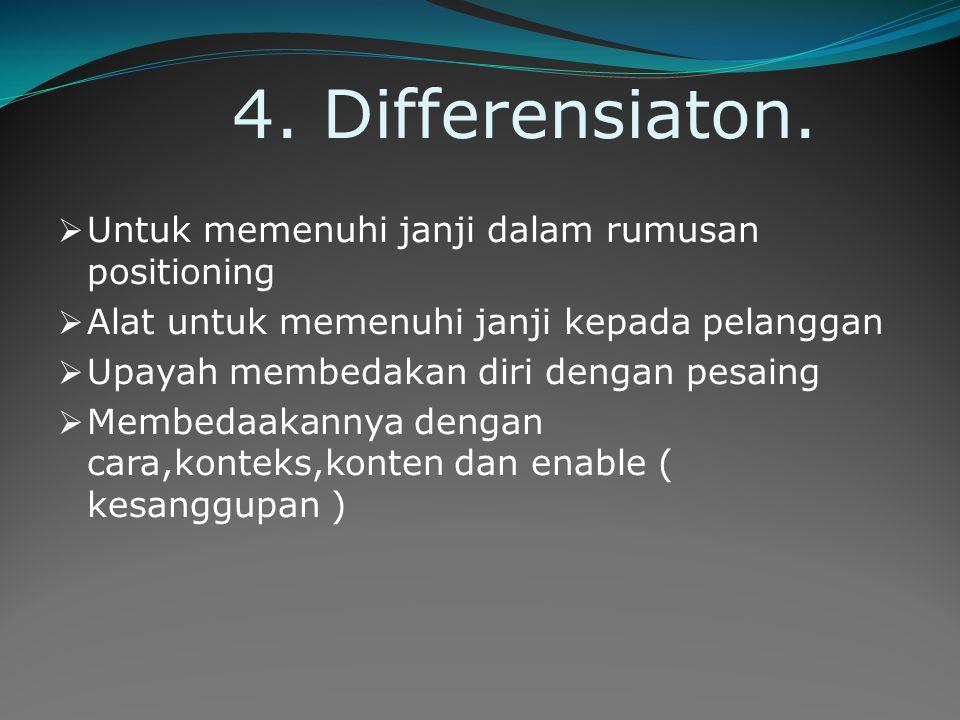 4. Differensiaton.  Untuk memenuhi janji dalam rumusan positioning  Alat untuk memenuhi janji kepada pelanggan  Upayah membedakan diri dengan pesai