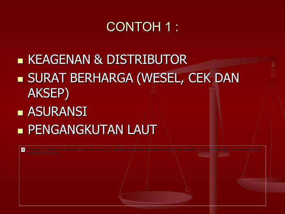 CONTOH 1 : KEAGENAN & DISTRIBUTOR KEAGENAN & DISTRIBUTOR SURAT BERHARGA (WESEL, CEK DAN AKSEP) SURAT BERHARGA (WESEL, CEK DAN AKSEP) ASURANSI ASURANSI