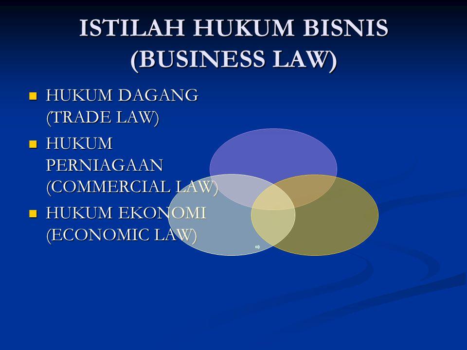 ISTILAH HUKUM BISNIS (BUSINESS LAW) HUKUM DAGANG (TRADE LAW) HUKUM DAGANG (TRADE LAW) HUKUM PERNIAGAAN (COMMERCIAL LAW) HUKUM PERNIAGAAN (COMMERCIAL L