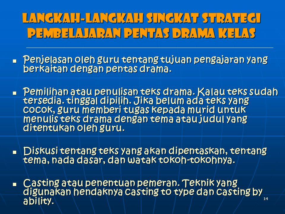 14 Langkah-langkah singkat strategi pembelajaran pentas drama kelas Penjelasan oleh guru tentang tujuan pengajaran yang berkaitan dengan pentas drama.