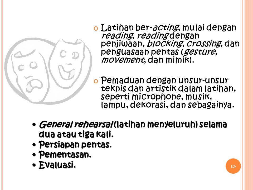 Latihan ber-acting, mulai dengan reading, reading dengan penjiwaan, blocking, crossing, dan penguasaan pentas (gesture, movement, dan mimik). Pemaduan