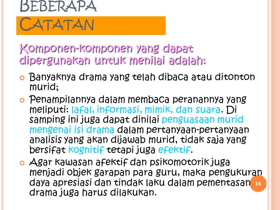 B EBERAPA C ATATAN Banyaknya drama yang telah dibaca atau ditonton murid; Penampilannya dalam membaca peranannya yang meliputi: lafal, informasi, mimi
