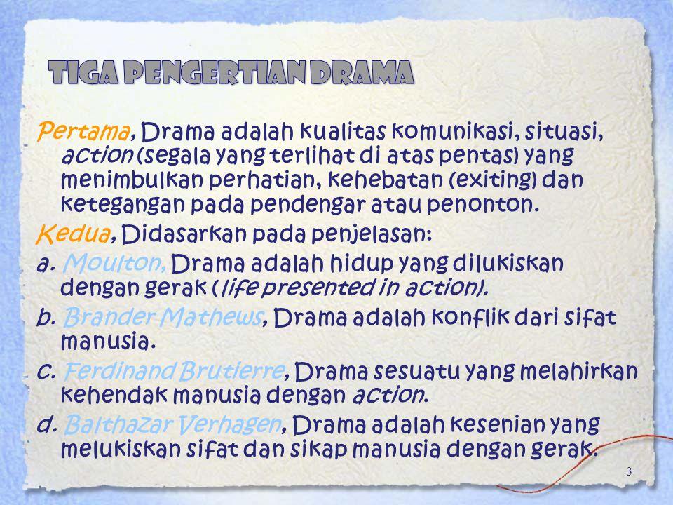 Pertama, Drama adalah kualitas komunikasi, situasi, action (segala yang terlihat di atas pentas) yang menimbulkan perhatian, kehebatan (exiting) dan k
