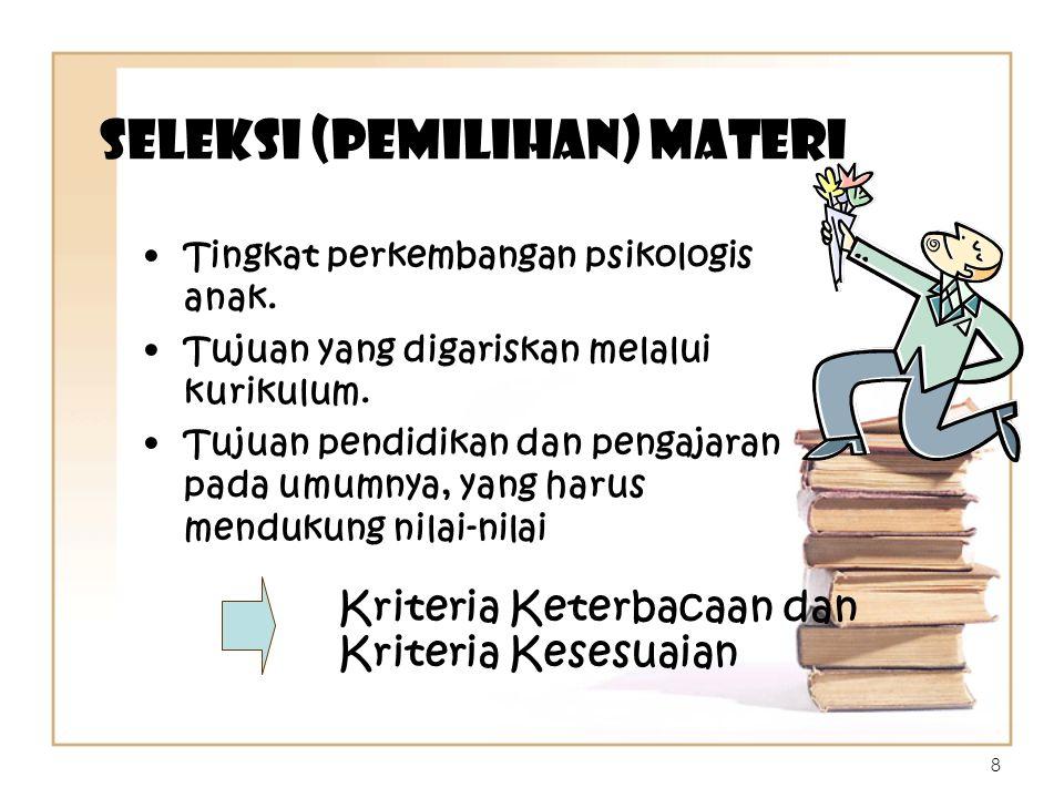 Seleksi (Pemilihan) Materi Tingkat perkembangan psikologis anak. Tujuan yang digariskan melalui kurikulum. Tujuan pendidikan dan pengajaran pada umumn