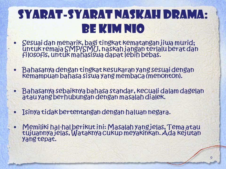 Syarat-syarat naskah drama: Be Kim Nio Sesuai dan menarik, bagi tingkat kematangan jiwa murid; untuk remaja SMP/SMU, naskah jangan terlalu berat dan f