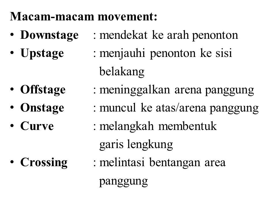 Macam-macam movement: Downstage: mendekat ke arah penonton Upstage: menjauhi penonton ke sisi belakang Offstage: meninggalkan arena panggung Onstage: