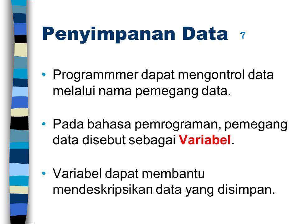 Penyimpanan Data Programmmer dapat mengontrol data melalui nama pemegang data. Pada bahasa pemrograman, pemegang data disebut sebagai Variabel. Variab