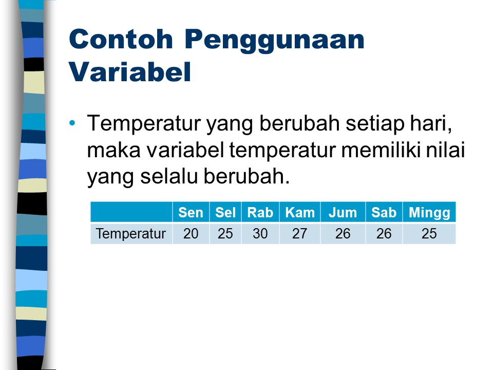 Contoh Penggunaan Variabel Temperatur yang berubah setiap hari, maka variabel temperatur memiliki nilai yang selalu berubah. SenSelRabKamJumSabMingg T