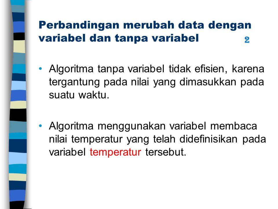 Perbandingan merubah data dengan variabel dan tanpa variabel Algoritma tanpa variabel tidak efisien, karena tergantung pada nilai yang dimasukkan pada suatu waktu.