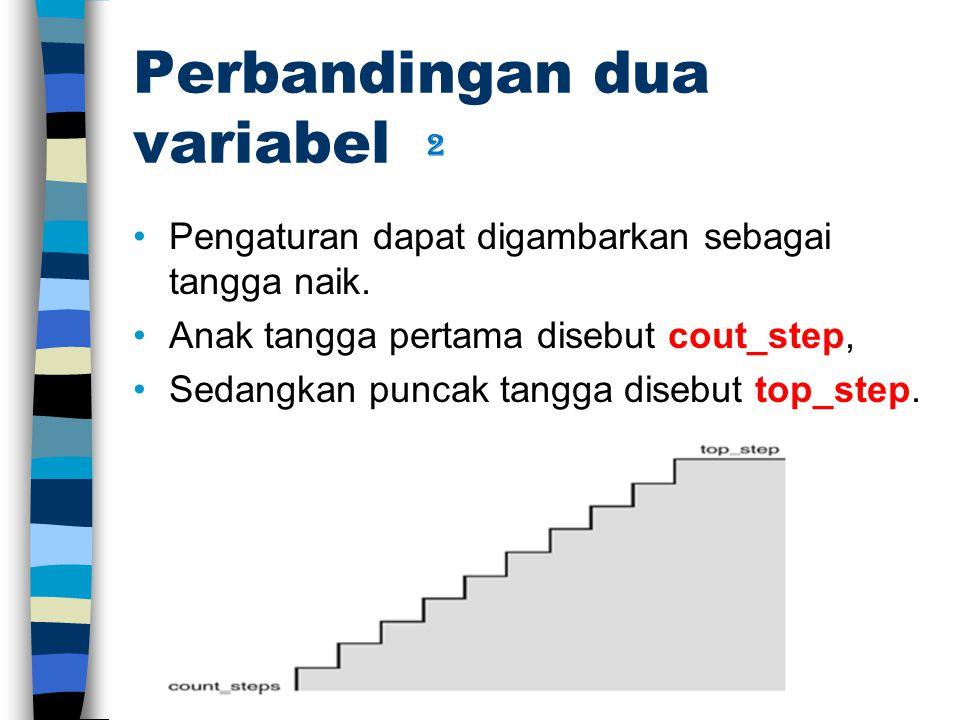Perbandingan dua variabel Pengaturan dapat digambarkan sebagai tangga naik. Anak tangga pertama disebut cout_step, Sedangkan puncak tangga disebut top