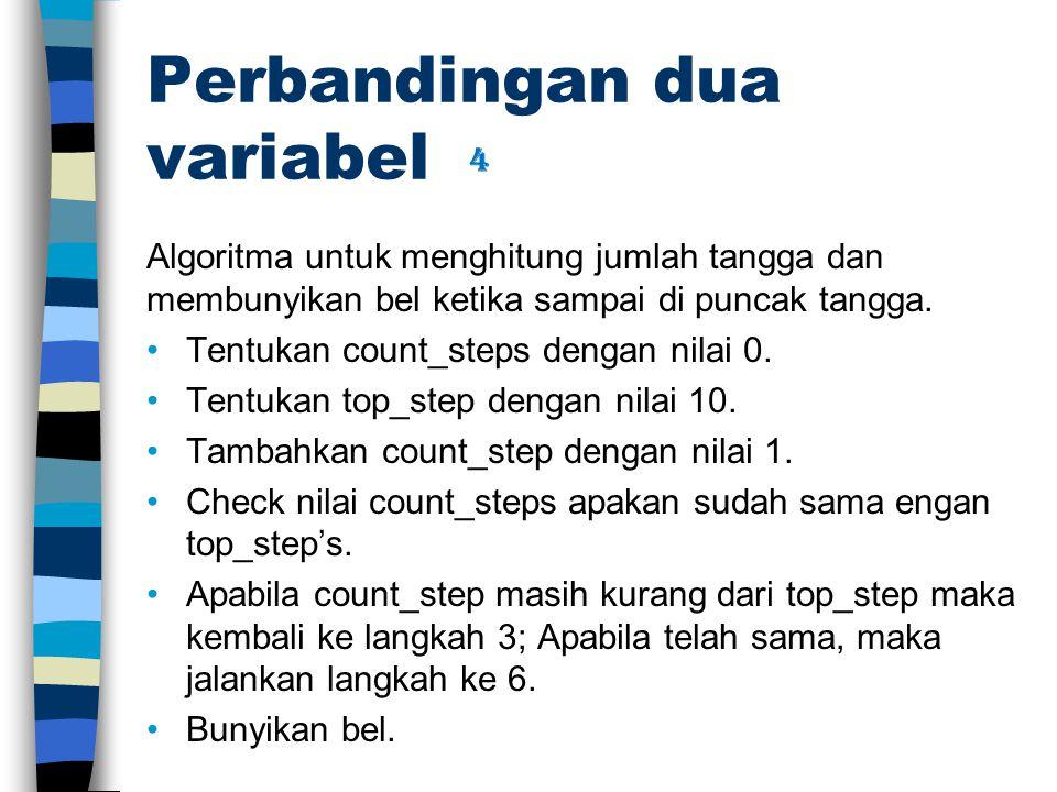 Perbandingan dua variabel Algoritma untuk menghitung jumlah tangga dan membunyikan bel ketika sampai di puncak tangga.