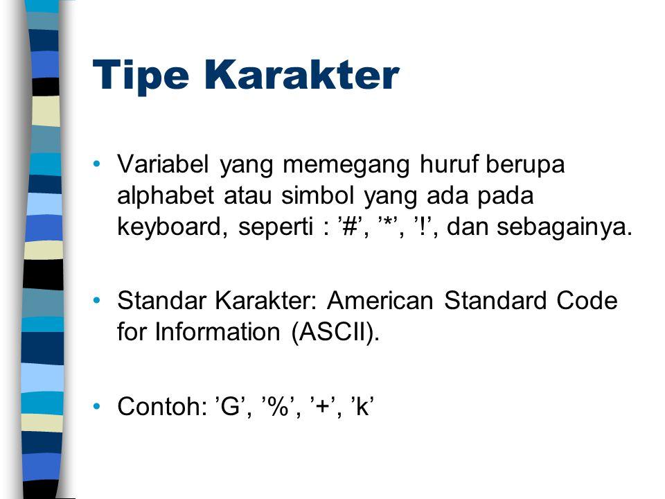 Tipe Karakter Variabel yang memegang huruf berupa alphabet atau simbol yang ada pada keyboard, seperti : '#', '*', '!', dan sebagainya. Standar Karakt