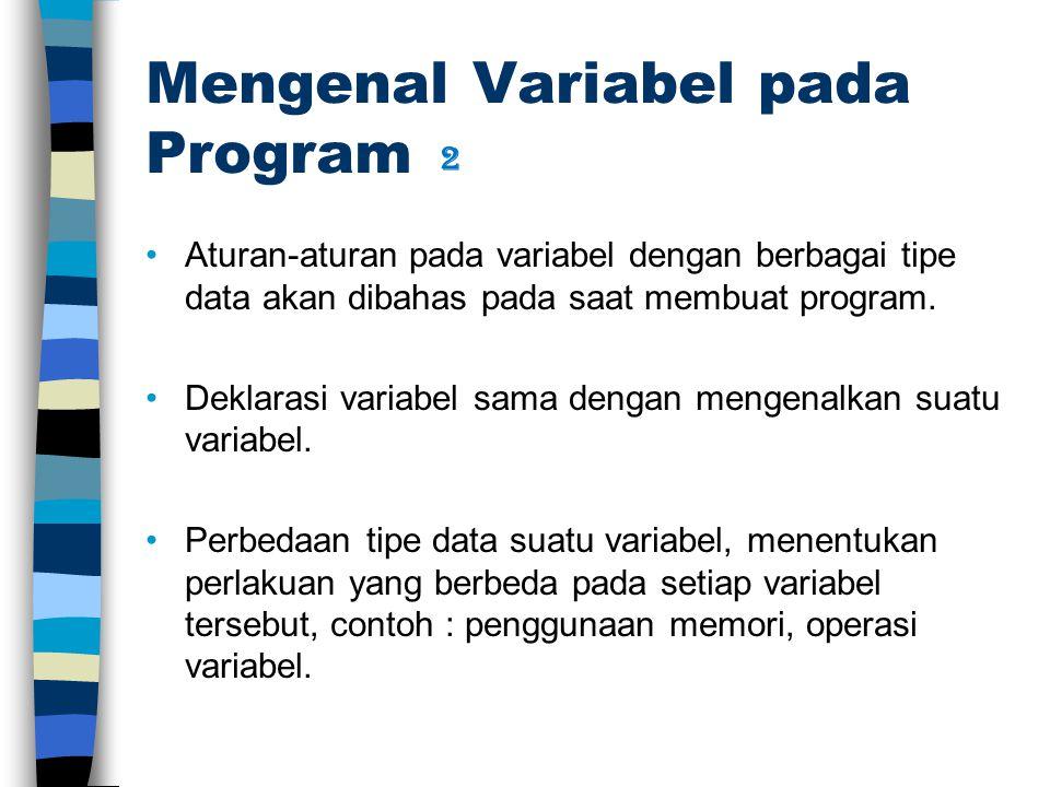 Mengenal Variabel pada Program Aturan-aturan pada variabel dengan berbagai tipe data akan dibahas pada saat membuat program. Deklarasi variabel sama d