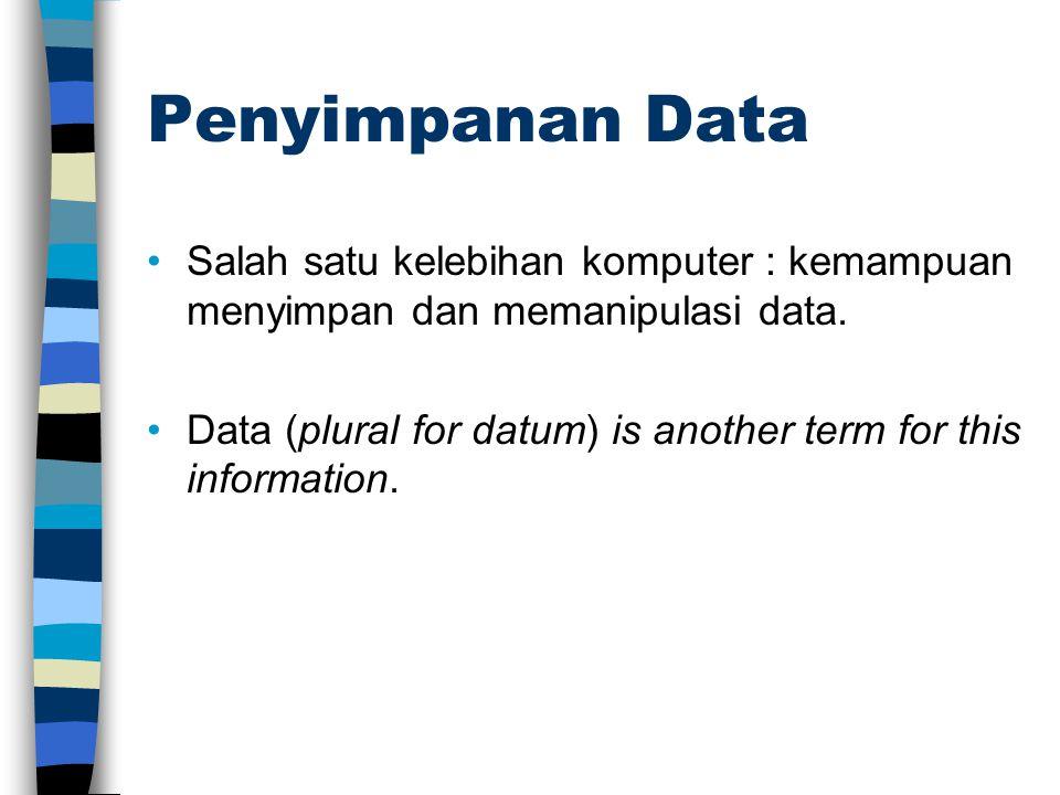 Penyimpanan Data Salah satu kelebihan komputer : kemampuan menyimpan dan memanipulasi data. Data (plural for datum) is another term for this informati
