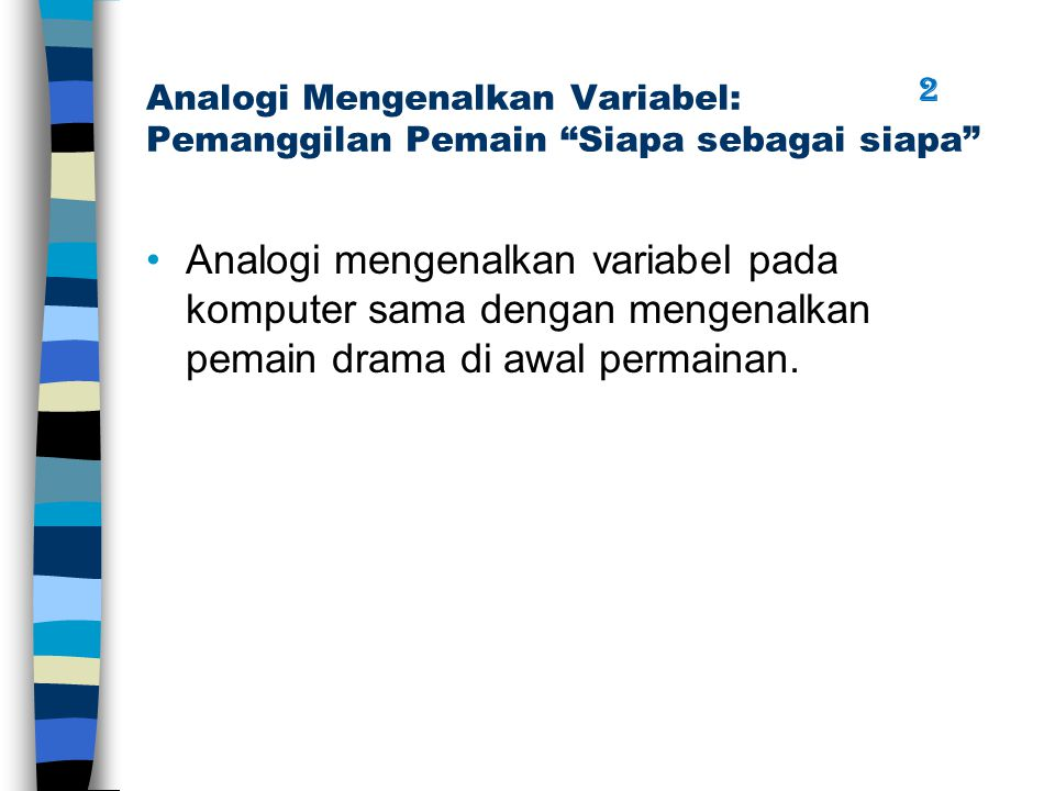 "Analogi Mengenalkan Variabel: Pemanggilan Pemain ""Siapa sebagai siapa"" Analogi mengenalkan variabel pada komputer sama dengan mengenalkan pemain drama"