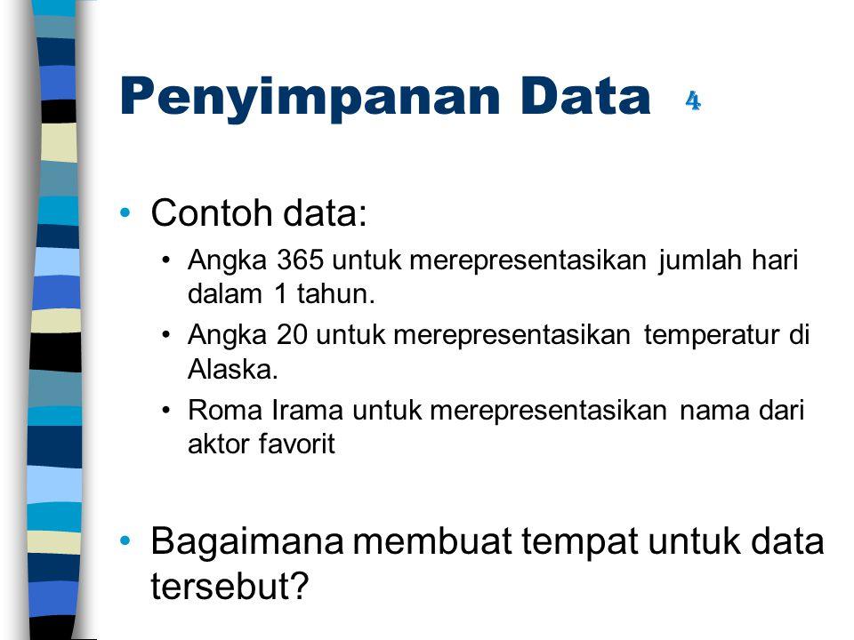 Penyimpanan Data Contoh data: Angka 365 untuk merepresentasikan jumlah hari dalam 1 tahun.