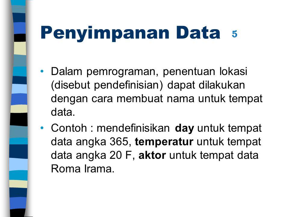 Penyimpanan Data Dalam pemrograman, penentuan lokasi (disebut pendefinisian) dapat dilakukan dengan cara membuat nama untuk tempat data.