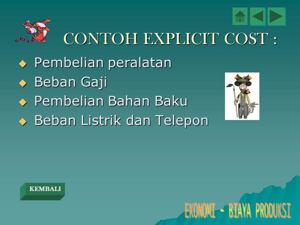 CONTOH EXPLICIT COST :  Pembelian peralatan  Beban Gaji  Pembelian Bahan Baku  Beban Listrik dan Telepon KEMBALI