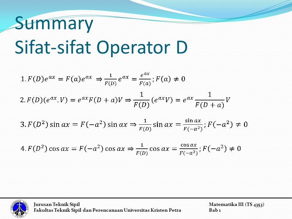 Summary Sifat-sifat Operator D Jurusan Teknik SipilMatematika III (TS 4353) Fakultas Teknik Sipil dan Perencanaan Universitas Kristen PetraBab 1