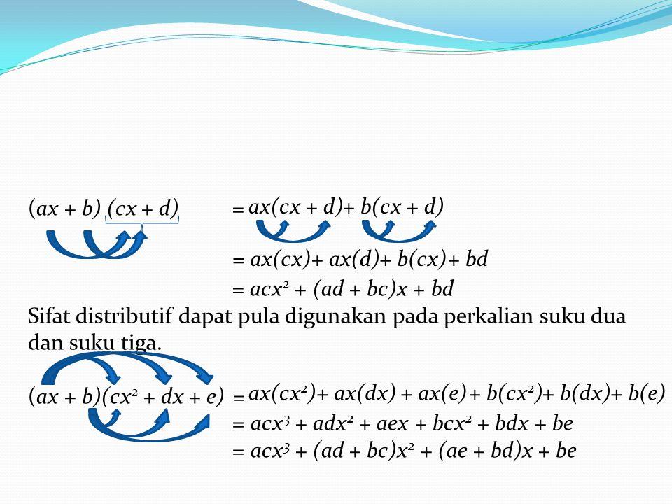 (ax + b) (cx + d) = = acx 2 + (ad + bc)x + bd Sifat distributif dapat pula digunakan pada perkalian suku dua dan suku tiga. (ax + b)(cx 2 + dx + e) =