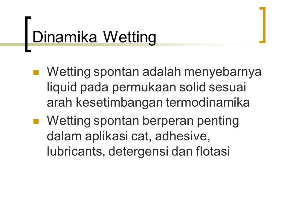 Dinamika Wetting Wetting spontan adalah menyebarnya liquid pada permukaan solid sesuai arah kesetimbangan termodinamika Wetting spontan berperan penting dalam aplikasi cat, adhesive, lubricants, detergensi dan flotasi
