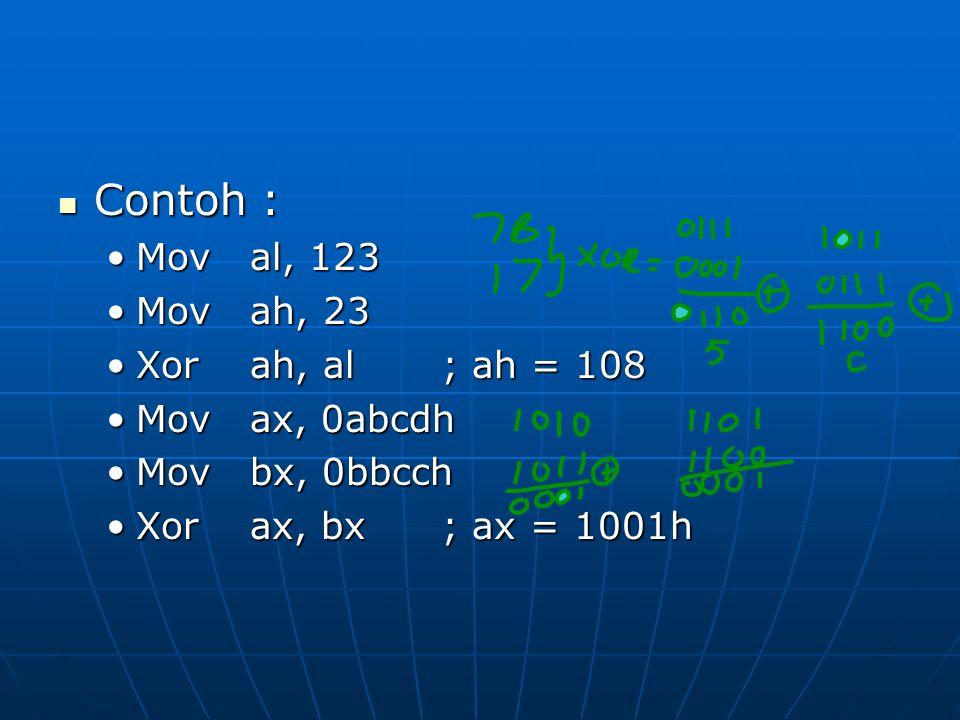 Contoh : Contoh : Moval, 123Moval, 123 Movah, 23Movah, 23 Xorah, al; ah = 108Xorah, al; ah = 108 Movax, 0abcdhMovax, 0abcdh Movbx, 0bbcchMovbx, 0bbcch Xorax, bx; ax = 1001hXorax, bx; ax = 1001h