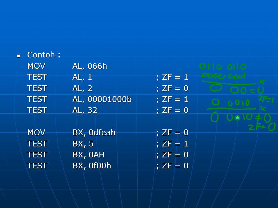 Contoh : Contoh : MOVAL, 066h TESTAL, 1; ZF = 1 TESTAL, 2; ZF = 0 TESTAL, 00001000b; ZF = 1 TESTAL, 32; ZF = 0 MOV BX, 0dfeah; ZF = 0 TEST BX, 5; ZF = 1 TESTBX, 0AH; ZF = 0 TESTBX, 0f00h; ZF = 0