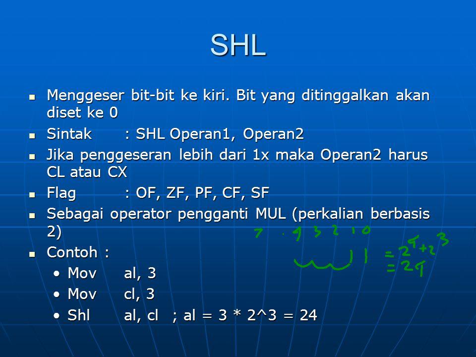 SHL Menggeser bit-bit ke kiri.Bit yang ditinggalkan akan diset ke 0 Menggeser bit-bit ke kiri.