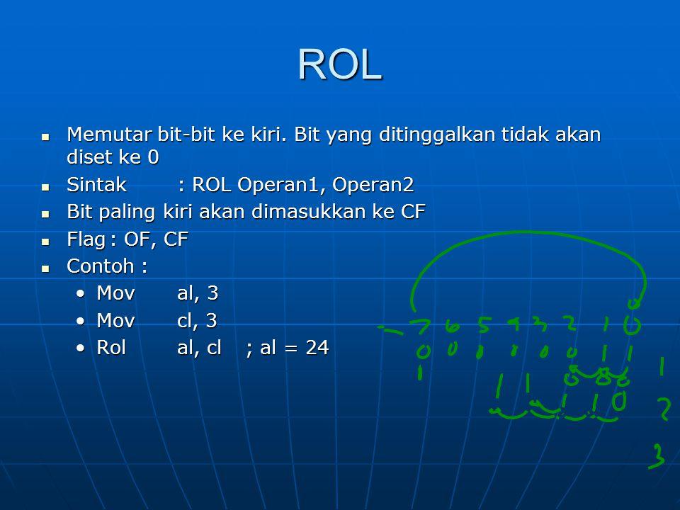 ROL Memutar bit-bit ke kiri.Bit yang ditinggalkan tidak akan diset ke 0 Memutar bit-bit ke kiri.