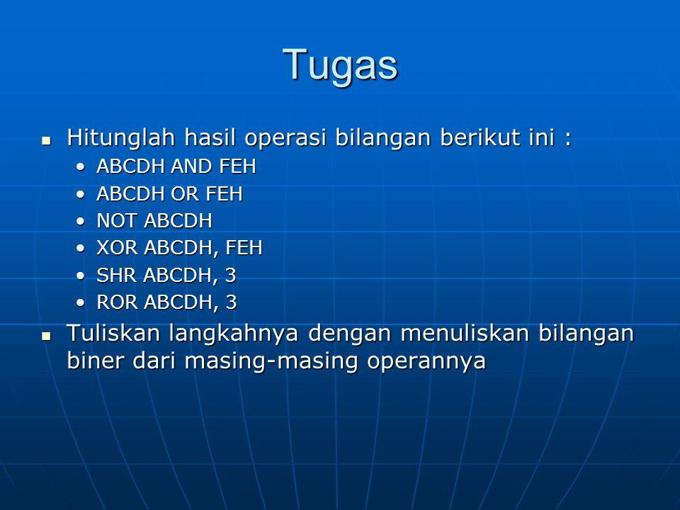 Tugas Hitunglah hasil operasi bilangan berikut ini : Hitunglah hasil operasi bilangan berikut ini : ABCDH AND FEHABCDH AND FEH ABCDH OR FEHABCDH OR FEH NOT ABCDHNOT ABCDH XOR ABCDH, FEHXOR ABCDH, FEH SHR ABCDH, 3SHR ABCDH, 3 ROR ABCDH, 3ROR ABCDH, 3 Tuliskan langkahnya dengan menuliskan bilangan biner dari masing-masing operannya Tuliskan langkahnya dengan menuliskan bilangan biner dari masing-masing operannya