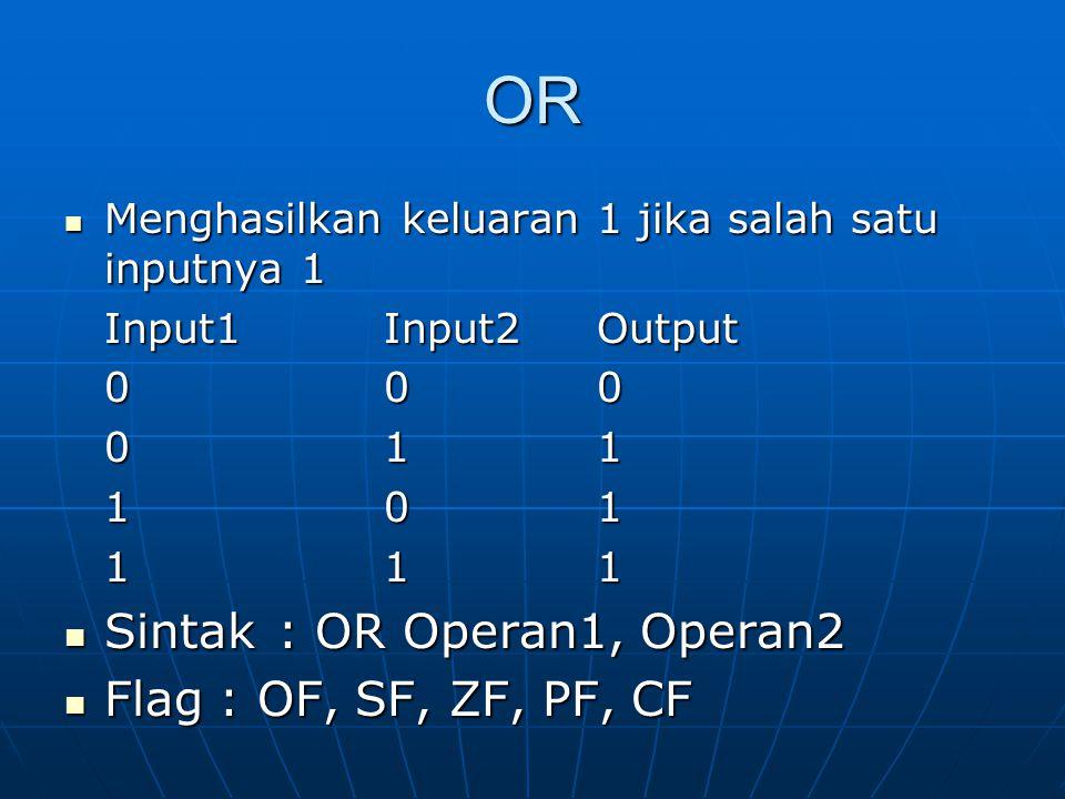 OR Menghasilkan keluaran 1 jika salah satu inputnya 1 Menghasilkan keluaran 1 jika salah satu inputnya 1 Input1Input2Output 000 011 101 111 Sintak: OR Operan1, Operan2 Sintak: OR Operan1, Operan2 Flag : OF, SF, ZF, PF, CF Flag : OF, SF, ZF, PF, CF
