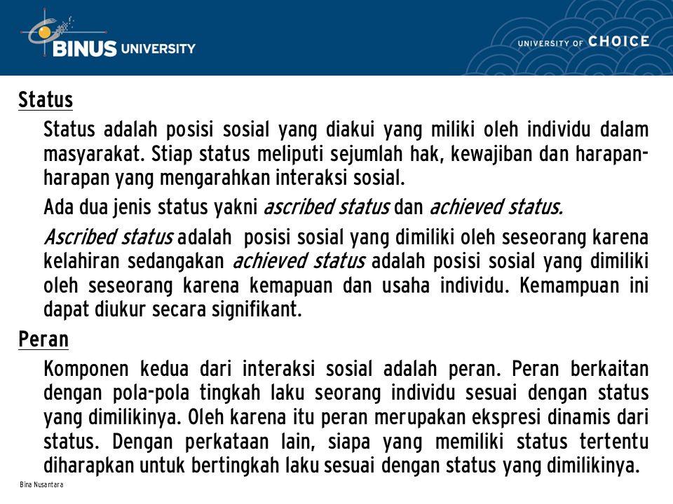 Bina Nusantara Status Status adalah posisi sosial yang diakui yang miliki oleh individu dalam masyarakat. Stiap status meliputi sejumlah hak, kewajiba
