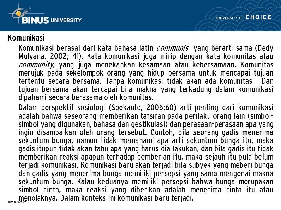 Bina Nusantara Komunikasi Komunikasi berasal dari kata bahasa latin communis yang berarti sama (Dedy Mulyana, 2002; 41). Kata komunikasi juga mirip de