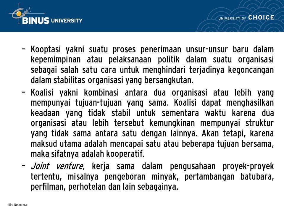 Bina Nusantara – Kooptasi yakni suatu proses penerimaan unsur-unsur baru dalam kepemimpinan atau pelaksanaan politik dalam suatu organisasi sebagai sa