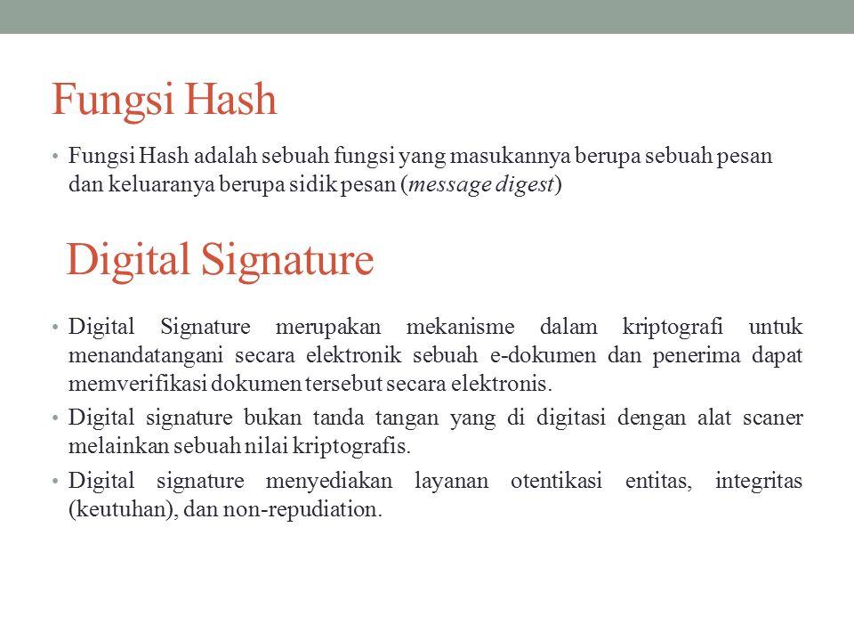 Fungsi Hash Fungsi Hash adalah sebuah fungsi yang masukannya berupa sebuah pesan dan keluaranya berupa sidik pesan (message digest) Digital Signature Digital Signature merupakan mekanisme dalam kriptografi untuk menandatangani secara elektronik sebuah e-dokumen dan penerima dapat memverifikasi dokumen tersebut secara elektronis.