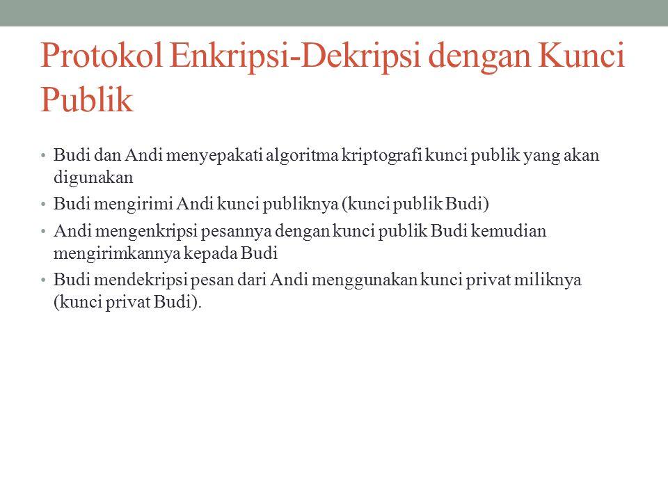 Protokol Enkripsi-Dekripsi dengan Kunci Publik Budi dan Andi menyepakati algoritma kriptografi kunci publik yang akan digunakan Budi mengirimi Andi kunci publiknya (kunci publik Budi) Andi mengenkripsi pesannya dengan kunci publik Budi kemudian mengirimkannya kepada Budi Budi mendekripsi pesan dari Andi menggunakan kunci privat miliknya (kunci privat Budi).