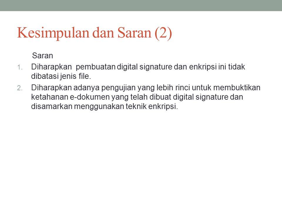 Kesimpulan dan Saran (2) Saran 1.