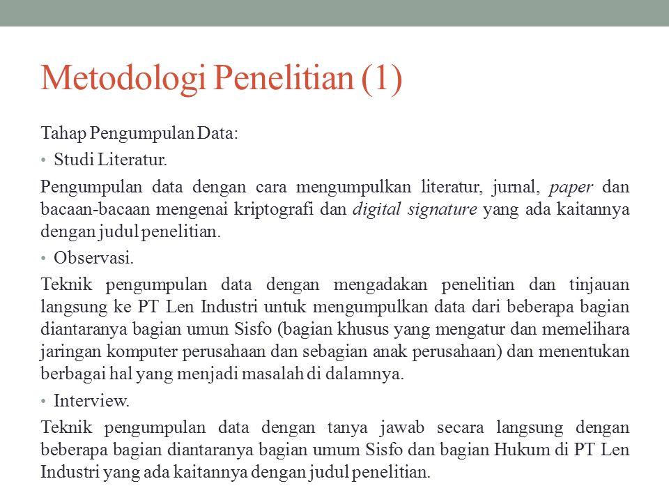 Metodologi Penelitian (2) Metode yang digunakan waterfall.