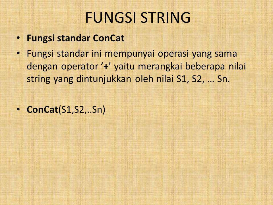 FUNGSI STRING Fungsi standar ConCat Fungsi standar ini mempunyai operasi yang sama dengan operator '+' yaitu merangkai beberapa nilai string yang dintunjukkan oleh nilai S1, S2, … Sn.
