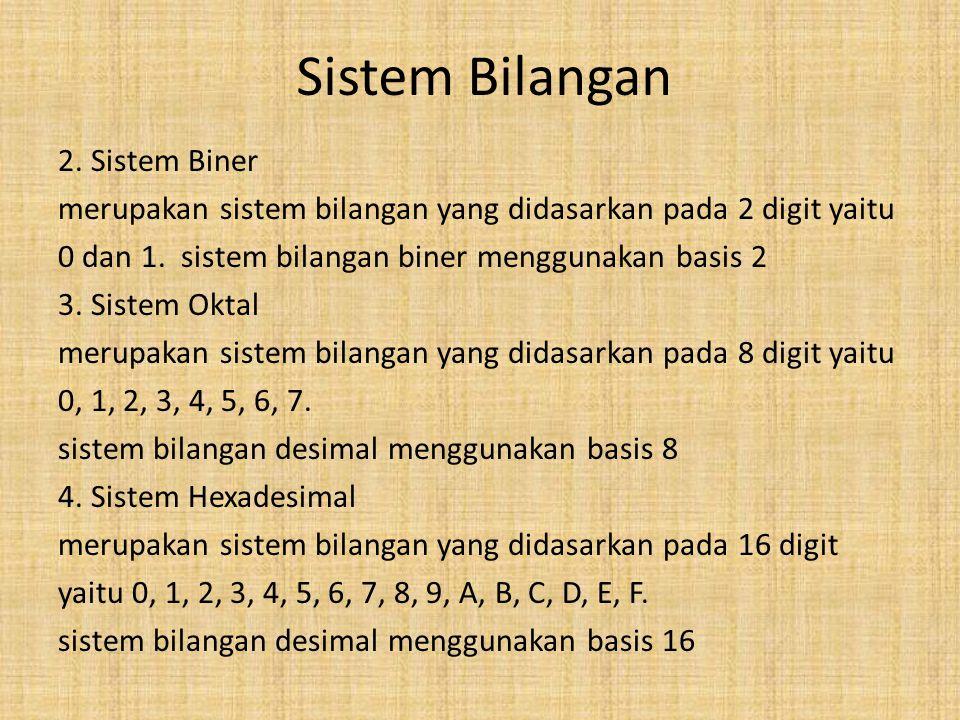 Sistem Bilangan 2. Sistem Biner merupakan sistem bilangan yang didasarkan pada 2 digit yaitu 0 dan 1. sistem bilangan biner menggunakan basis 2 3. Sis