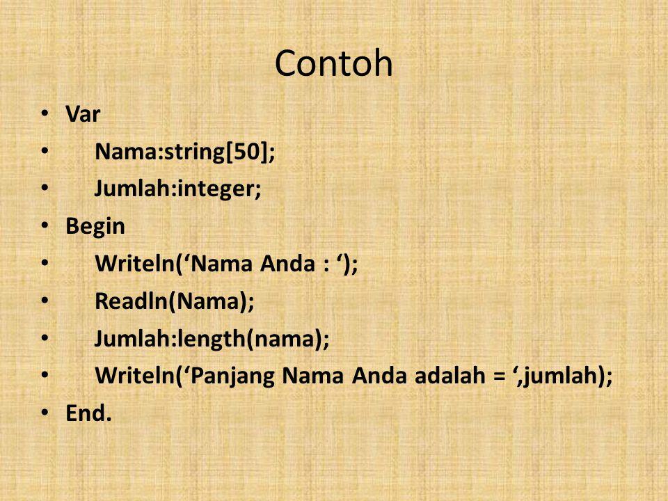 Contoh Var Nama:string[50]; Jumlah:integer; Begin Writeln('Nama Anda : '); Readln(Nama); Jumlah:length(nama); Writeln('Panjang Nama Anda adalah = ',jumlah); End.