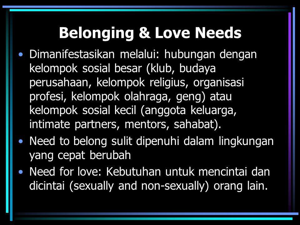Belonging & Love Needs Dimanifestasikan melalui: hubungan dengan kelompok sosial besar (klub, budaya perusahaan, kelompok religius, organisasi profesi, kelompok olahraga, geng) atau kelompok sosial kecil (anggota keluarga, intimate partners, mentors, sahabat).