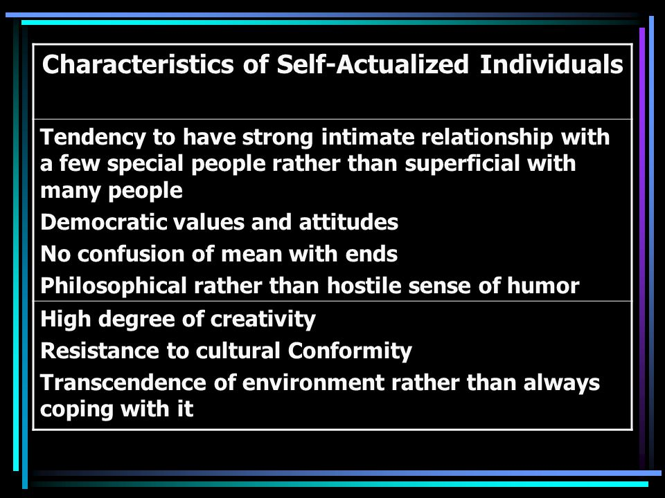 Characteristics of Self-Actualized Individuals Tendency to have strong intimate relationship with a few special people rather than superficial with many people Democratic values and attitudes No confusion of mean with ends Philosophical rather than hostile sense of humor High degree of creativity Resistance to cultural Conformity Transcendence of environment rather than always coping with it