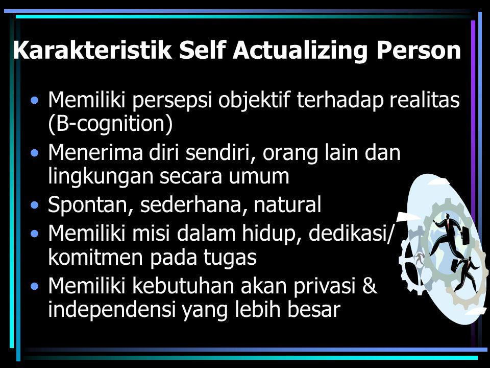 Karakteristik Self Actualizing Person Memiliki persepsi objektif terhadap realitas (B-cognition) Menerima diri sendiri, orang lain dan lingkungan secara umum Spontan, sederhana, natural Memiliki misi dalam hidup, dedikasi/ komitmen pada tugas Memiliki kebutuhan akan privasi & independensi yang lebih besar