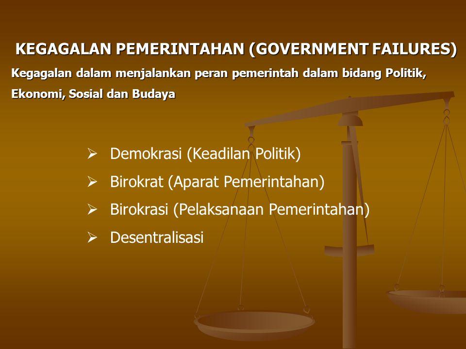 KEGAGALAN PEMERINTAHAN (GOVERNMENT FAILURES) Kegagalan dalam menjalankan peran pemerintah dalam bidang Politik, Ekonomi, Sosial dan Budaya  Demokrasi