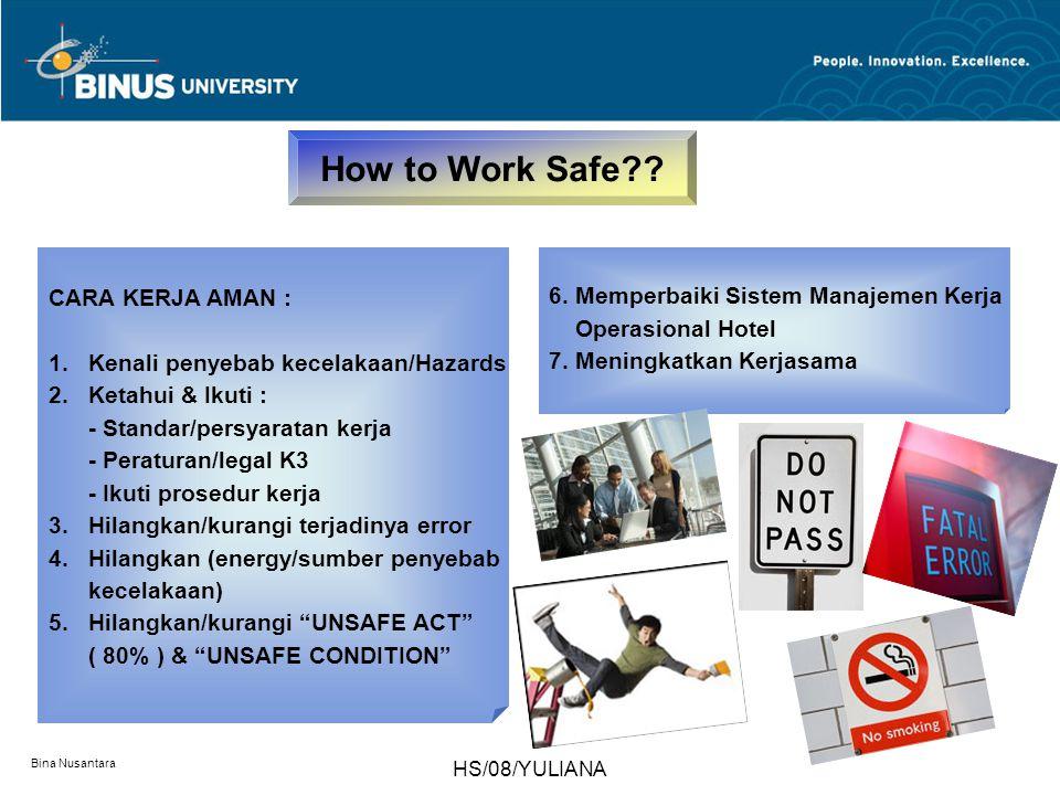 Bina Nusantara HS/08/YULIANA CARA KERJA AMAN : 1.Kenali penyebab kecelakaan/Hazards 2.Ketahui & Ikuti : - Standar/persyaratan kerja - Peraturan/legal