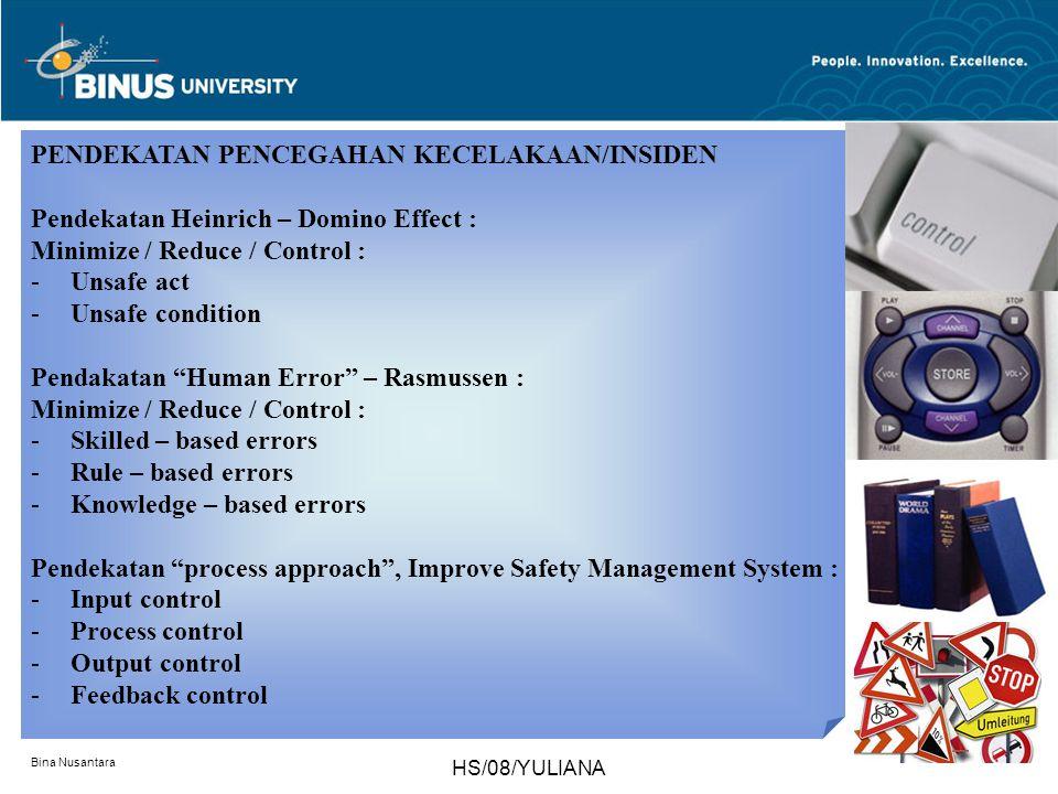 Bina Nusantara HS/08/YULIANA PENDEKATAN PENCEGAHAN KECELAKAAN/INSIDEN Pendekatan Heinrich – Domino Effect : Minimize / Reduce / Control : -Unsafe act